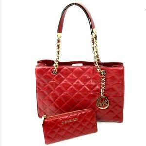 NWT MK Susannah Medium Leather Quilted Tote Wallet
